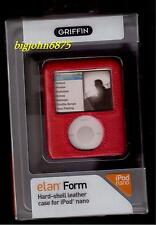 Griffin Elan Form Leather Case For iPod Nano 3rd Gen Red 8180-NELNFMR