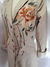 PAPARAZZI Embellished COAT~Long Floral Embroidered Taupe Twill Cotton 36B 33W