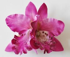 "3.5"" Purple Double Cymbidium Orchid Flower Hair Clip Luau Hawaiian Wedding"