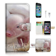 iPhone 7 PLUS (5.5') Flip Wallet Case Cover P2609 Baby Pig Bunny
