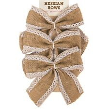 3 x Natural Hessian Jute Bows Lace Edge Arts Crafts Decoration Gift Wrapping