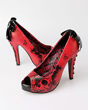 Iron Fist American Nightmare Red Platform High Heel Shoes Gothic Sexy Skull 7