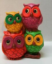 Stacked Owls Bank Napcoware Bright Pink Yellow Purple Green Owls Vintage