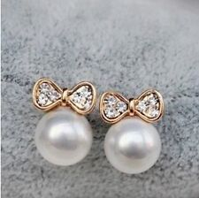 Gemma Gold Plated Pearl Bow Earrings Gift Occasion Women Beautiful Party