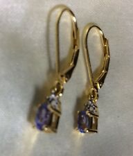 1/2 Ct, Tanzanite Earring, Lever Back, Dangle, 14K Gold Overlay Sterling Silver