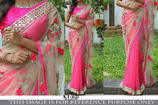 Piquant Pink And White Nylon Net Thread Work Replica Party Wear Saree KT3121