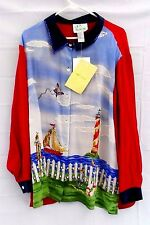 Quacker Factory Women's 2X 100% Silk Beaded lighthouse beach Ocean Sailboat NEW