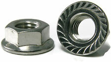 Stainless Steel Hex Flange Nut Serrated UNC #10-24, Qty 25