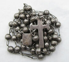 "† SCARCE HEAVY VINTAGE STERLING FROM MEXICO ROSARY ROSARIO 34 1/2"" NECKLACE †"