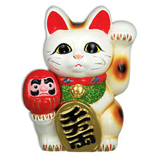 """Welcome 7""""H Maneki Neko Cat w/Holding Lucky Daruma Doll/Coin Bank/Made in Japan"""