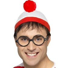 Ladies 2pc Wheres Wally Nerd Geek Hen Night Fun Fancy Dress Hat Glasses Kit