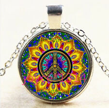 MANDALA peace symbol Cabochon Tibetan silver Glass Chain Pendant Necklace #4057