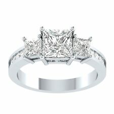 2.25 ct 3 stone Princess Cut Diamond Engagement Ring Real 14kt Solid White Gold