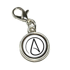 Atheism Atheist Symbol - Antiqued Bracelet Pendant Charm with Lobster Clasp
