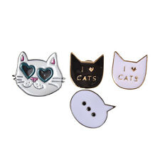Women I Love Cats Brooches Collar Pins Accessory Jewelry Girls Gift Party 1 Set