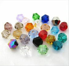 300Pcs Crystal charm Bicone loose spacer 4mm glass Clear bead,mixed color