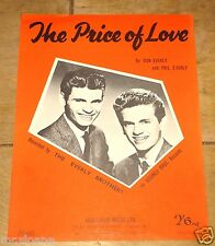 THE EVERLY BROTHERS ~ THE PRICE OF LOVE ~ VINTAGE UK SONG SHEET MUSIC SHEET 1965
