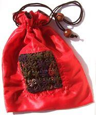 BLUMEN TASCHE -Tunnelzugholzverschluß 19 x 24cm rot Handtasche Geschenktasche