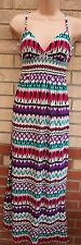 NEW LOOK MULTI COLOUR TRIBAL SILKY FEEL STRAPPY LONG MAXI SUMMER DRESS 8 S