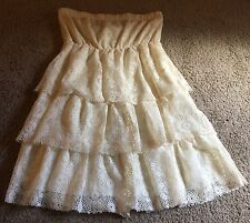 Celine By Champion Cream Lace Layered Strapless Woman's Dress Size L