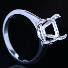 925 Sterling Silver Wedding Ring Prong Setting 9mm Cushion Semi Mount Fine Ring
