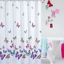 Polyester Fabric SHOWER CURTAIN Floral Butterflies  Bathroom Decor 180x180cm
