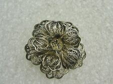 VINTAGE STERLING SILVER MEXICO FILIGREE CUT OUT FLORAL PIN N498-T