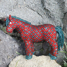 RED AND GREEN BEADED HORSE by DENISE & FARON GCHACHU - ZUNI - NATIVE AMERICAN