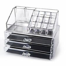 Clear Acrylic Cosmetics Organizer 3 Drawers with 16 Compartments Top Section