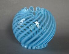 Early Fenton Blue Swirl Optic Opalescent Art Glass Rose Bowl - PERFECT