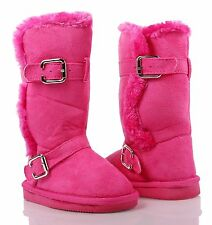 Fuchsia nn Faux Suede Slip On Kids Girls Mid-Calf Boots Youth Faux Fur Size 1