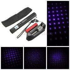 Portable Blue-Purple Laser Pointer Light Pen Beam + Holster + 18650 Charger