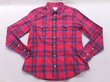 New Levi's California Womens 50293 Red Plaid  Western Pearl Snap Front Shirt M