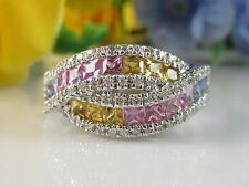 14K Sapphire Diamond Ring White Gold Rainbow Multi Color Fine Jewelry Size 7