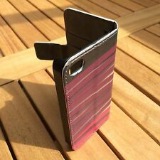 New iPhone 4 Cover Magnetic Clasp Designer Wallet Case Card Pink & Purple Ribbon