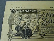 ANTIQUE JULY 5 1917 EMBROIDERY JOURNAL w/ PATTERNS, LACES, ALPHABETS, MONOGRAMS