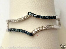 NEW White Gold Blue Diamonds Ring Guard Solitaire Enhancer Jacket Wrap Skinny