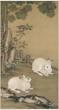 Chinese old painting Animal Two rabbits playing under parasol tree Qing dynasty