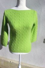 NEW SCOTLAND 100% Cashmere Cable Boatneck Sweater Sz L SUPER SOFT 3 PLY NWOT