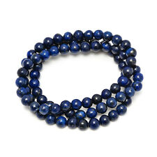 6mm Stunning Stackable Round Blue Lapis-Lazuli Bead Stretchy Bracelet / Necklace