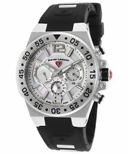 Swiss Legend OPUS Womens Swiss Made MoP Chrono Watch Black Silicone NEW!
