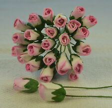48 ROSY PINK ROSE BUDS (L) Mulbery Paper Flowers for wedding miniature cards