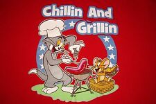 Tom and Jerry Chillin and Grillin Barbecue July 4th Patriotic T-Shirt Mens XL