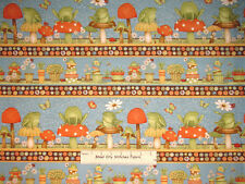 Debbie Mumm Hip Hop Garden Frog Toad Mushroom Border Stripe Cotton Fabric YARD