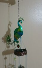 Colorful Peacock Wind Chimes-Metal/ Glass Hanging Sculpture by Bits and pieces