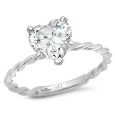 2 CT Heart Cut Promise Twisted Knot Rope Solitaire Ring Band14k White gold