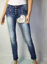 Blue Rags Baggy Jeans Hose Knöpfe Stretch Gr. 38 USED  Denim Blau Skinny  Neu