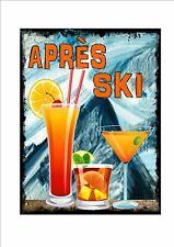 Apres Ski Novedad signo de pared de metal Esquí pub signo vino tinto Bar Signo Signo De Esquí