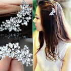 Women Bride Flower Headwear Rhinestone Barrette Crystal Hair Clip Bobby Pin FG