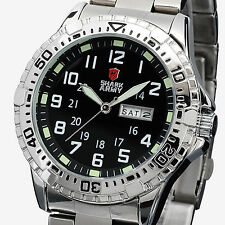 Luxury Shark Army ARIES Men's Stainless Steel  Date Day Sport Quartz Wrist Watch